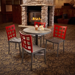 "Round Table with Square Base and Four Chairs - 30""DIA, 46170"