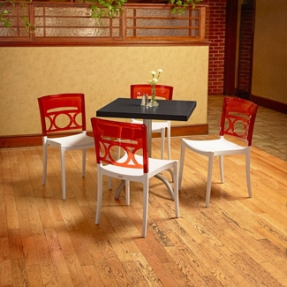 """Square Table with Metal Base and Four Chairs - 30""""W , 46169"""