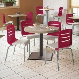 """Round Table with Square Base Breakroom Set - 30""""DIA, 46167"""