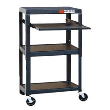 Adjustable Height Steel AV Cart with Laptop Tray, 43182