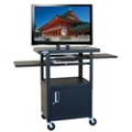 Adjustable Height Steel AV Cart with Pull Out Shelves and Cabinet, 43185