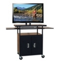 Adjustable Height Extra Wide AV Cart with Pull Out Shelves and Cabinet, 43187
