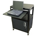 Adjustable Height AV Cart with Laptop Shelf and Cabinet, 43188