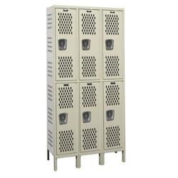 "Assembled 36""W x 15""D Two Tier Ventilated Locker, 36114"