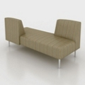 Vinyl Seat Fabric Back Opposing Back Sofa, 76005