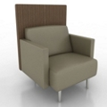 Modern Vinyl Lounge Chair with Fabric Back Panel, 76067