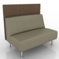 Armless Vinyl Lounge Loveseat with Fabric Back Panel, 76071