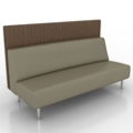 Armless Vinyl Lounge Sofa with Fabric Back Panel, 76072