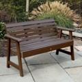 """Outdoor Horizontal Slat Synthetic Wood Bench 48""""W, 85855"""