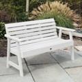 """Outdoor Horizontal Slat Synthetic Wood Bench 60""""W, 85637"""