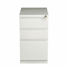 "Three Drawer Mobile Pedestal in White - 20""D, 30610"