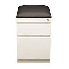 "Two Drawer Mobile Pedestal with Cushion in White - 20""D, 30611"