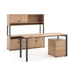 Modern Computer Desk and Credenza Set, 13822