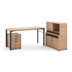 Modern Computer Desk with File and Hutch Set, 13824