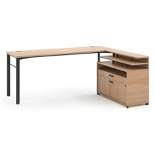 Modern L-Desk with File and Shelving Return , 13845