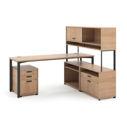 "Modern Computer L-Desk and Hutch Set - 72""W, 13848"