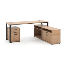"Modern Computer L-Desk  and Pedestal - 72""W, 13849"
