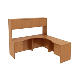Curved Corner Desk with Hutch, 14566