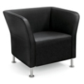 HON Flock Leather Square Lounge Chair, 76062