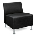 HON Flock Leather Armless Guest Chair, 76064