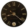 "32"" Dia Brushed Brass Pendulum Wall Clock, 91246"