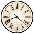 "31.5""Dia Metal Antique White Wall Clock, 91254"