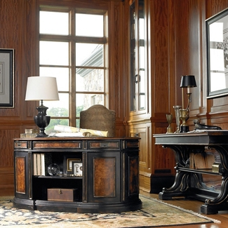 """Traditional Executive Desk with Bookcase Back and Leather Inlay Top - 60""""W, 13170"""