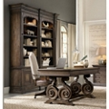Rustic Writing Desk and Double Bookcase Small Office Set, 86008
