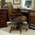 Traditional Scroll Arm Leather Executive Chair, 55011