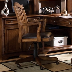 Traditional Wooden Back Faux Leather Computer Chair, 55012