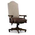 Rustic Scroll Arm Fabric Back Chair with Leather Seat , 55013
