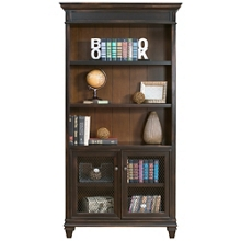 "Two-Tone Bookcase with Doored Storage- 78""H, 32110"