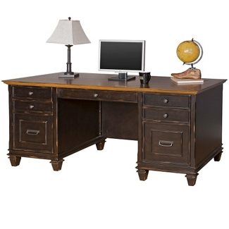 "Two-Tone Double Pedestal Desk - 69.5""W, 14060"