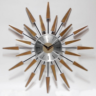 """Mid Century 22"""" Wood and Metal Wall Clock, 82361"""