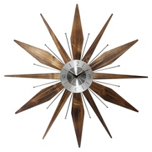 """Mid Century 30"""" Wood and Metal Wall Clock, 82362"""