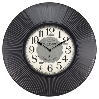 """Old Town 31.5"""" Ribbed Frame Wall Clock, 91276"""