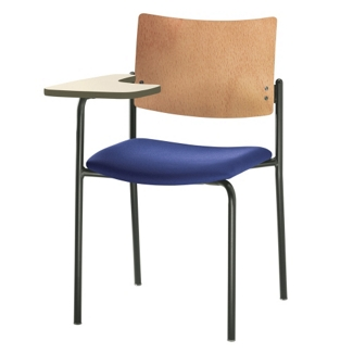 Fabric Right Tablet Arm Chair with Wood Back, 52380