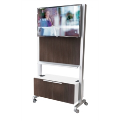 "40""W x 75""H Mobile Whiteboard and Technology Cart with Storage, 80549"