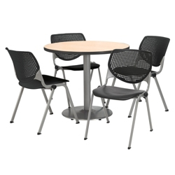 "Modern Round Pedestal Table and Chair Set - 42"" Diameter, 41747"