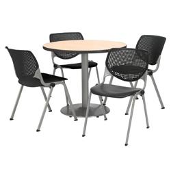 "Modern Round Pedestal Table and Chair Set - 42"" Diameter, 41747"