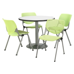 "Modern Round Pedestal Table and Chair Set - 36"" Diameter, 41748"