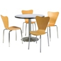 """Round Pedestal Table and Bentwood Chair Set - 42"""" Diameter, 41749"""