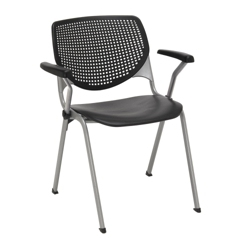 Perforated Back Poly Stack Chair with Arms - 400 lb. Capacity, 51380