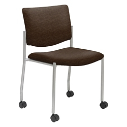Mobile Armless Guest Chair in Fabric, Faux Leather or Polyurethane, 76275