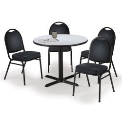 "42"" Breakroom Table and Vinyl Chair Set, 44392"
