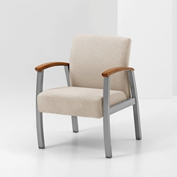 Vinyl Guest Chair with Wood Arm Caps, 26219