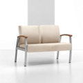 Vinyl Two Seat Chair with Wood Arm Caps, 26222