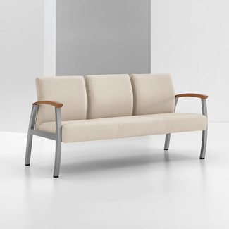 Vinyl Three Seat Chair with Wood Arm Caps, 26224