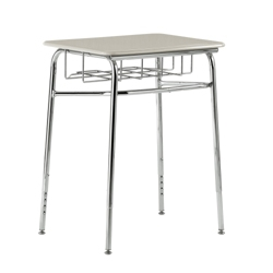 """Plastic Top Adjustable Height Student Desk with Book Basket - 24""""W x 18""""D, 13928"""