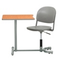 Curved Poly Student Chair Desk with Square Work Surface, 13977